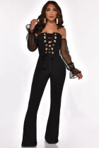 WGW Sexy Off Shoulder Lace Up Long Sleeve Jumpsuits YMT6127