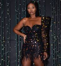 WGW Sexy Sequin One Shoulder Backless Club Dresses CYA8265