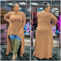 WGW Plus Size Solid Long Sleeve High Low Hem Maxi Tops OMF199