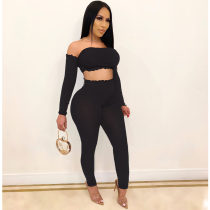 WGW Sexy Off Shoulder Long Sleeve Bodycon 2 Piece Sets SHE7163