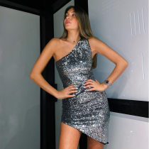 WGW Shiny Sequins One Shoulder Sleeveless Club Dress BLG1598