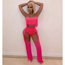 WGW Sexy Tassel Hollow Out Nightclub Two Piece Sets MS1040