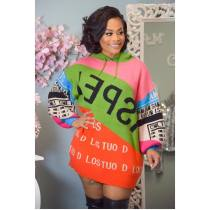 WGW Casual Letter Patchwork Hoodies Dress MOF5134