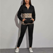 WGW Leopard Printed Patchwork Two Piece Pants Set SH2055