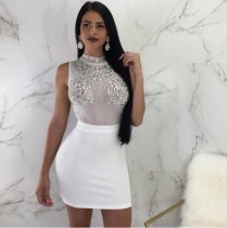 White Sequin Sleeveless Patchwork Mini Dress MOS778