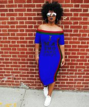 Blue Letter Print Plus Size Midi Dress LP689