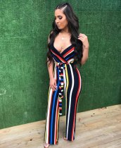 Striped Printed One-piece Jumpsuit WZ8094