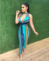 Rainbow Striped One Piece Jumpsuit YM9008