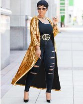 Sparkly Sequin Full Sleeve Long Cardigan Coat YF9237