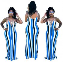 Blue Spaghetti Straps Maxi  Dress YSF153
