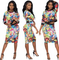 Plus Size Printed Casual 2 Piece Skirt Set AL047