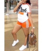 Pink Letter Print Shorts Set Orange 7826WO