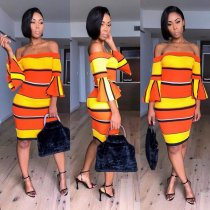 Striped Off Shoulder Flare Sleeve Bodycon Dress ML7160