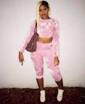 Pink 2Pcs Crop Tops Mid Calf Pants Sets SHA6022