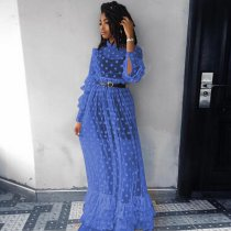 Blue Polka Dot Mesh Ruffle Maxi Dress AL033