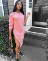 Pink Hole Side Split Midi Dress ASL6063