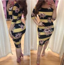 Striped Floral Printed Bodycon Dress LM8006