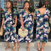 Blue Floral Print Backless Long Shirt Dress CM260