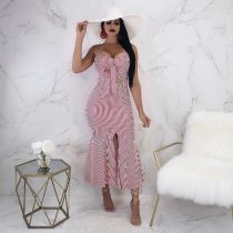 Hollow-out Pink Striped Straps Maxi Dress YN970
