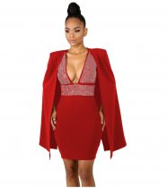 Red Rhinestone Cloak Sleeves Bodycon Dress ZS0138