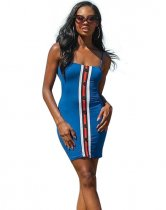 Blue Spaghetti Strap Bodycon Mini Dress HM6009