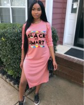 Pink Letter Print Split Midi T Shirt Dress ML7140