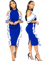 Blue Halter Patchwork Ruffles Midi Dress LA3044