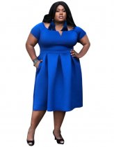 Blue Plus Size Short Sleeve Pleated Midi Dress CY1589