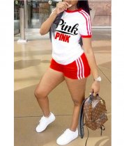 Pink Letter Print Shorts Set Red 7826WO