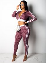 Pink Striped Hooded Crop Tops +Pants Set SMR9050