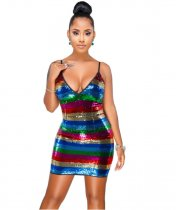 Sequin Stripe Mini Dress YF9227