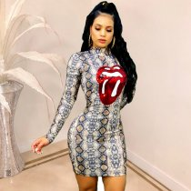 Snake Skin Print Sequin Lip Mini Bodycon Dress TE3674
