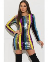 Fashionable Colorful Sequin Round Collar Package Hip Mini Dress OSM6065