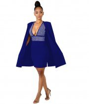 Blue Rhinestone Cloak Sleeves Bodycon Dress ZS0138