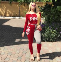 Red PINK Letter Print Two Pieces Set HGL1056