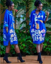 Blue Long Print Shirt Dress CM246