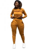Orange Plus Size Ruffles Two Piece Sets MK1018