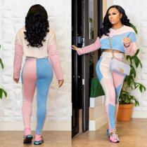 Pink Patchwork 2Pcs Crop Tops And Pants Set SH3449