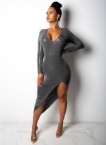 Sexy Sequin V Neck Irregular Bodycon Midi Dress YIS908