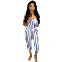 Plus Size Stripes Drawstring Jumpsuit MTY6138