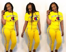 Plus Size Tracksuit Short Sleeve Two Piece Set OY5318