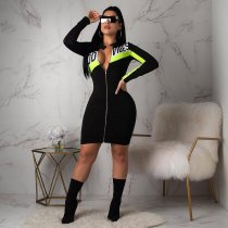 Plus Size Long Sleeve Front Zipper Mini Dress PIN8289