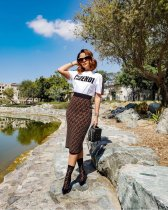 Letter Print Short Sleeve Casual Two Piece Set YMT6070