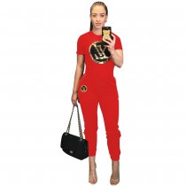 WGW Casual Tracksuit Short Sleeve Two Piece Sets TR929