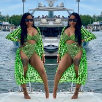 WGW Sexy Printed One Piece Swimsuit With Cover Up Sets HGL1163