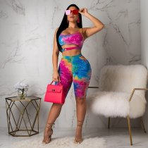 WGW Tie Dye Print Crop Tops Shorts Two Piece Sets MYP8858