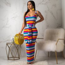 WGW Colorful Striped Sleeveless Slim Maxi Dresses OYF8046