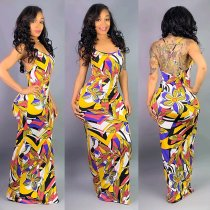 WGW Sexy Printed Straps Backless Maxi Dresses MN3079
