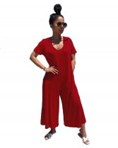 WGW Solid Hooded Short Sleeve Loose Jumpsuits FNN8221