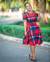 WGW Plaid Print Short Sleeve Big Swing Sashes Midi Dress WZ8184